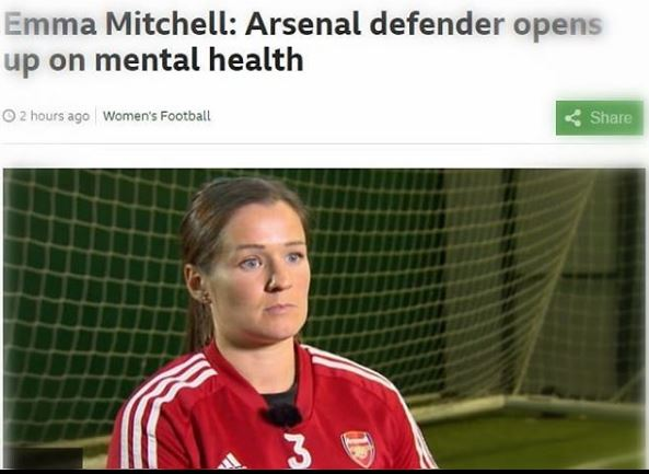 BBC Sport: Emma Mitchell: Arsenal defender opens up on mental health